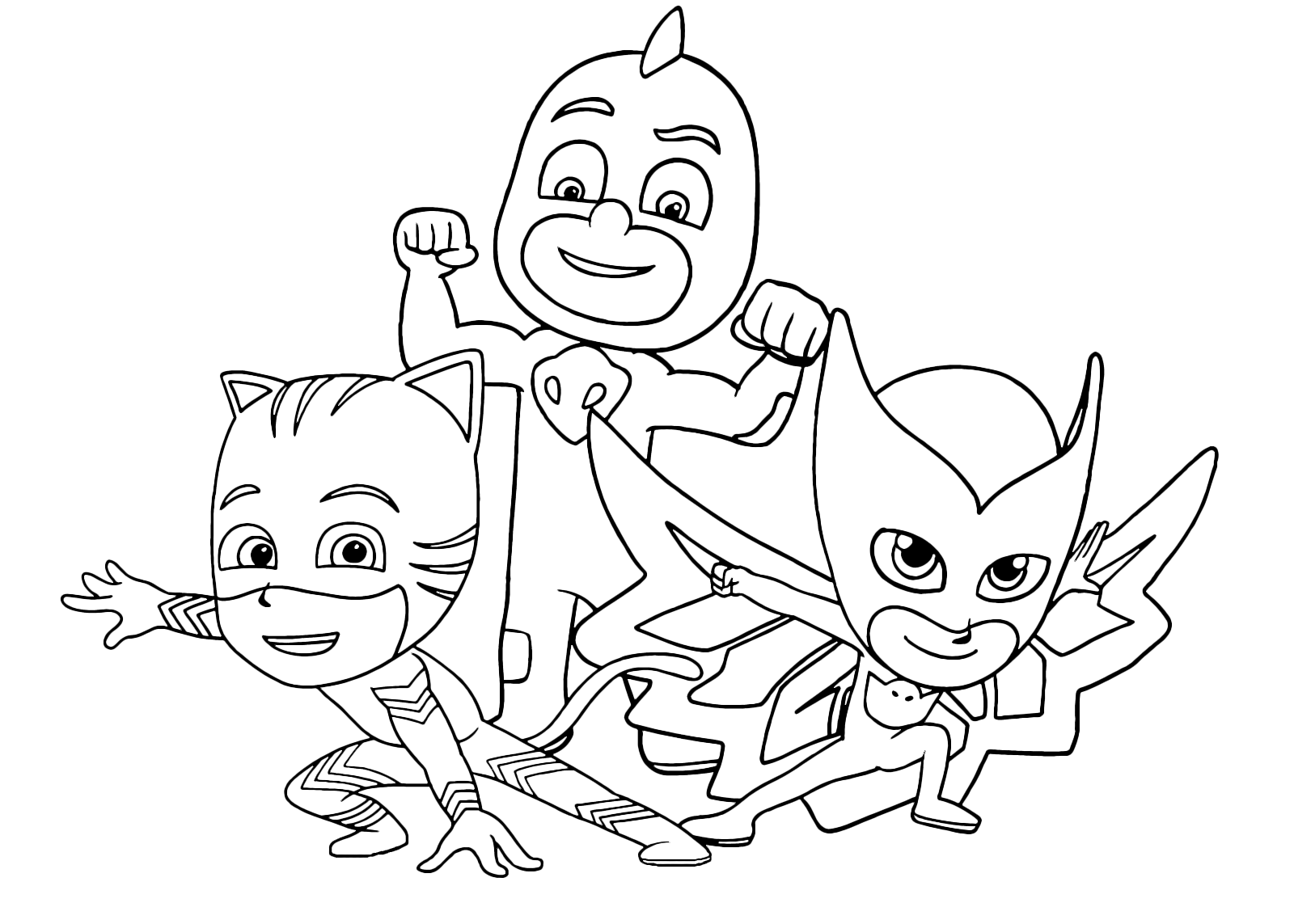 Pj masks coloring sheets - Pj Masks Team Ready To Defend The City