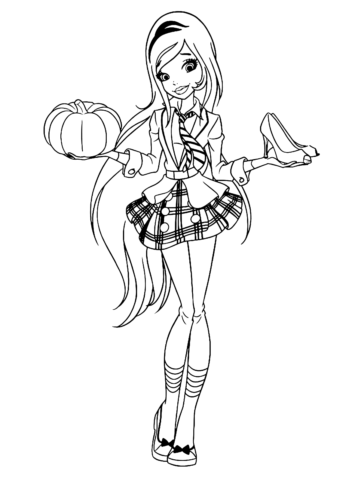 regal academy roses with a pumpkin in one hand and evening shoes in the other