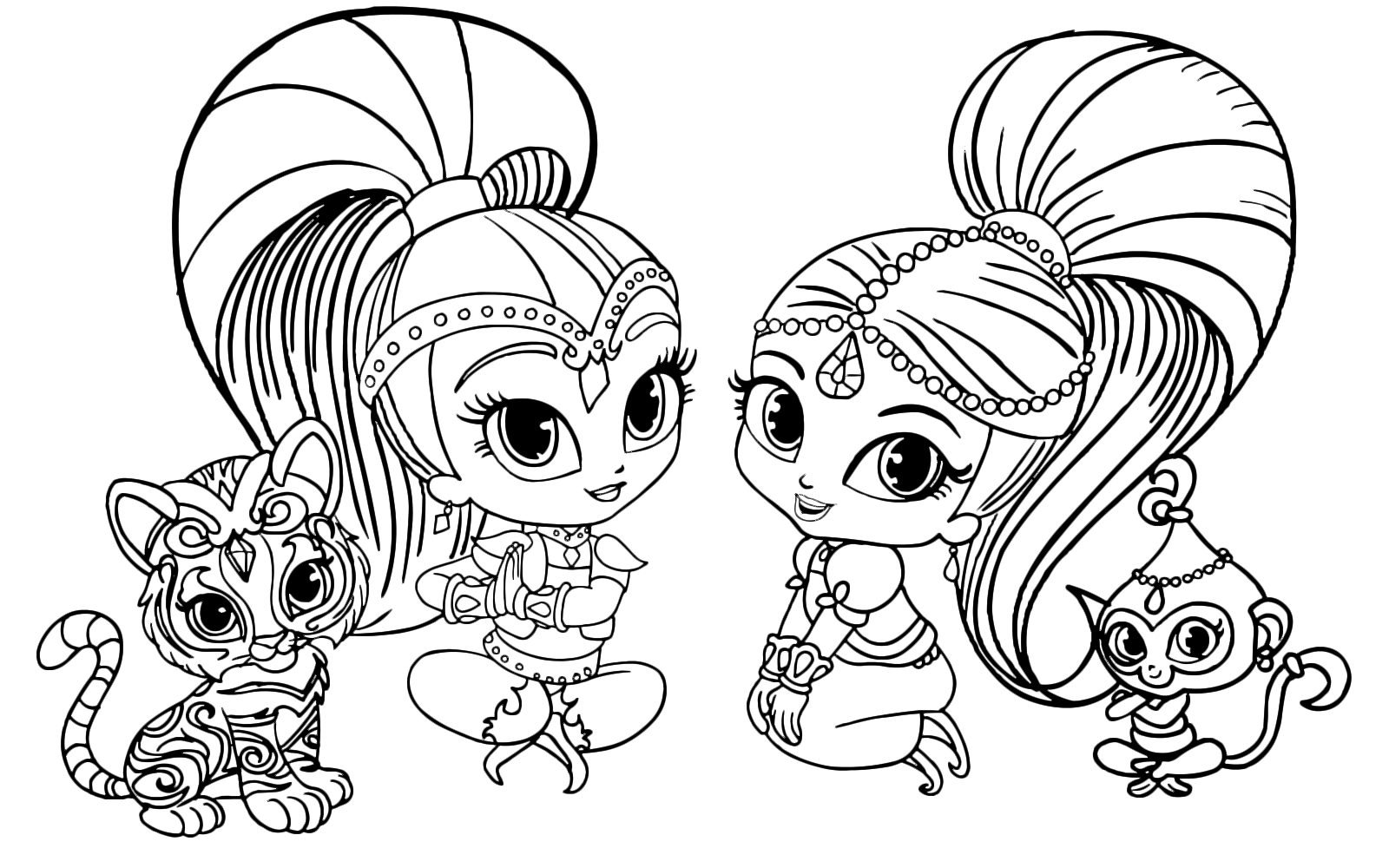 Shimmer And Shine Coloring Pages Pdf : Shimmer and shine are sitting with