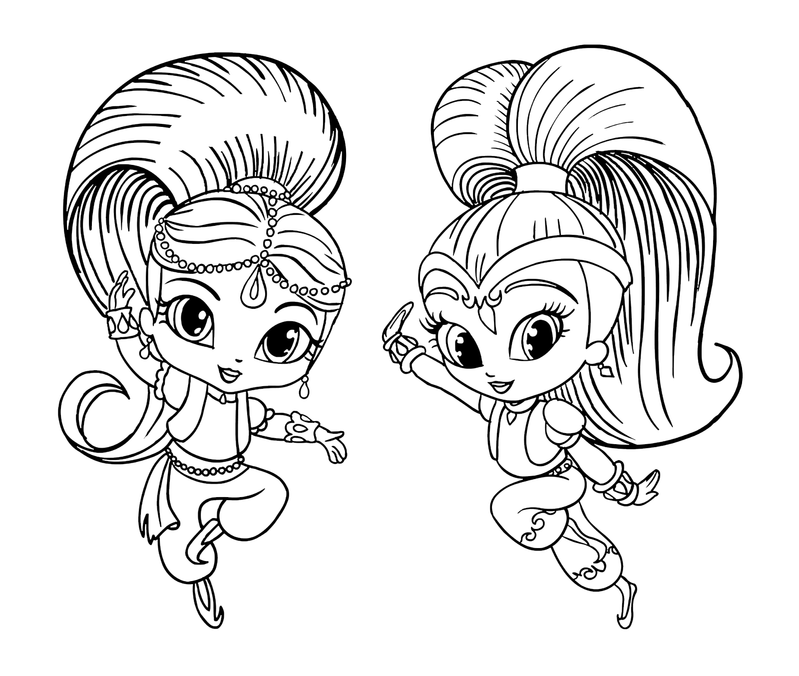 """Shimmer and Shine"" coloring pages"
