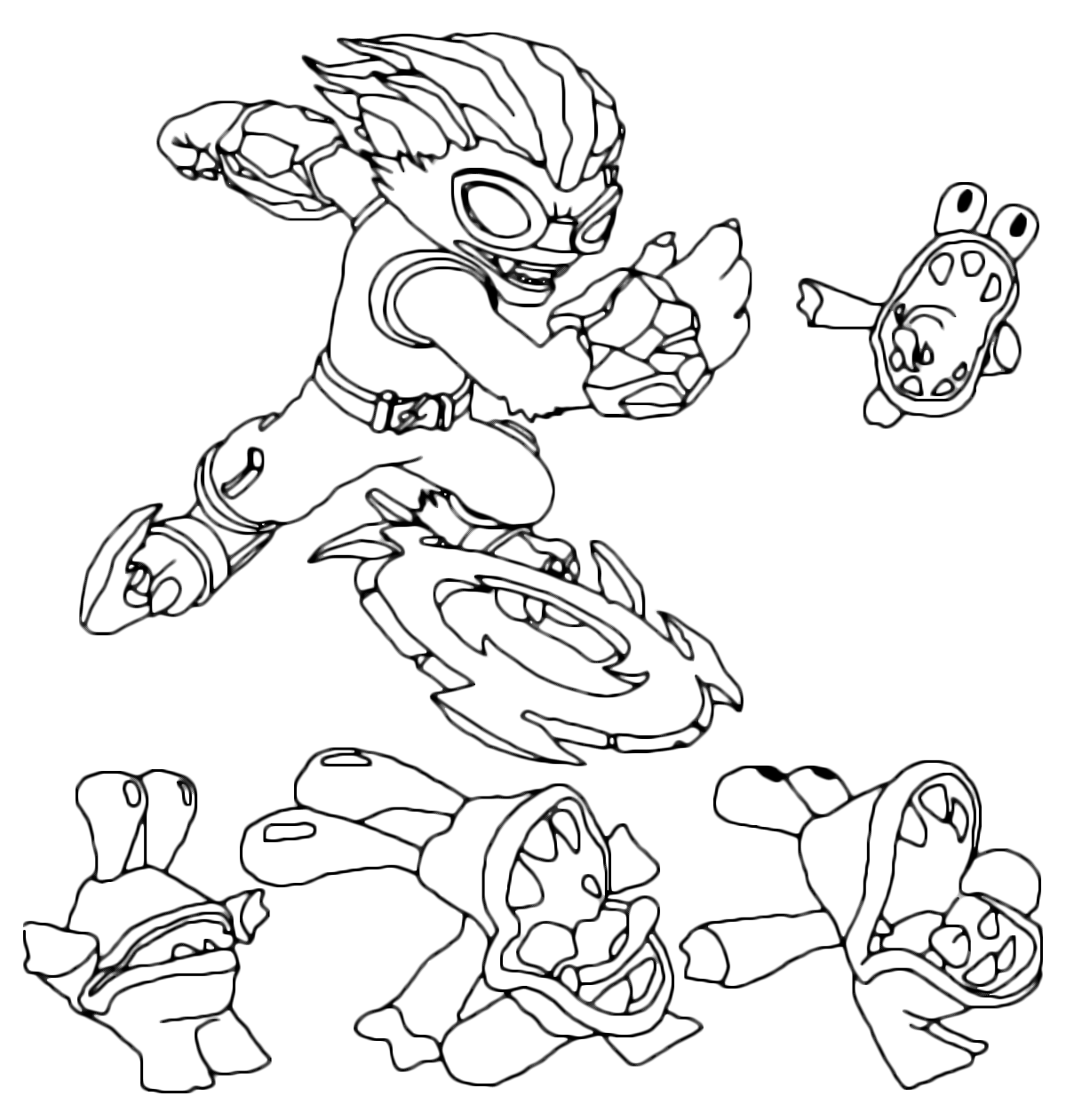 skylanders coloring page swap force freeze blade and the chompy