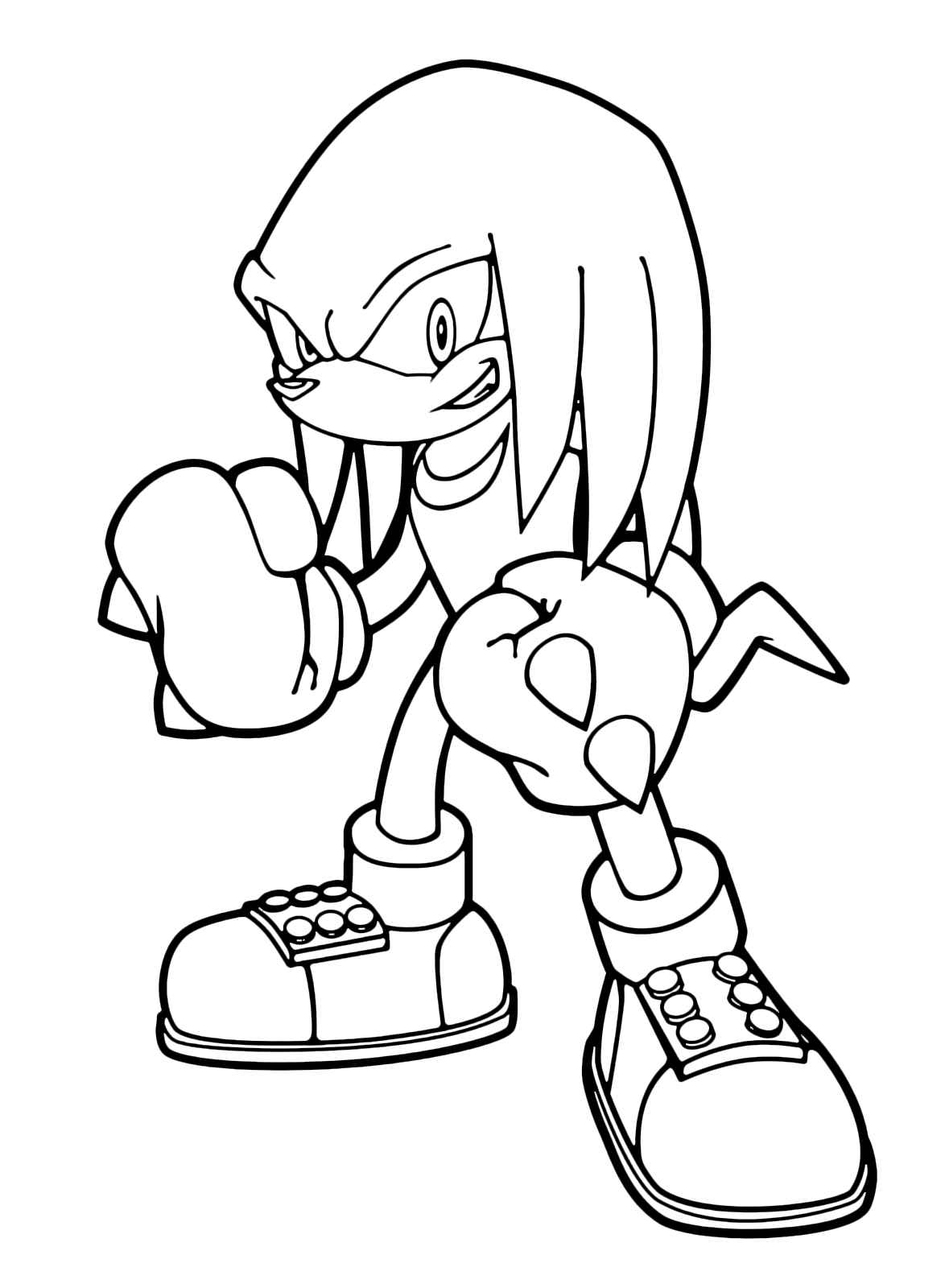 coloring pages to print sonic characters knuckles | Sonic Boom - Knuckles the Echidna with his thorny fists