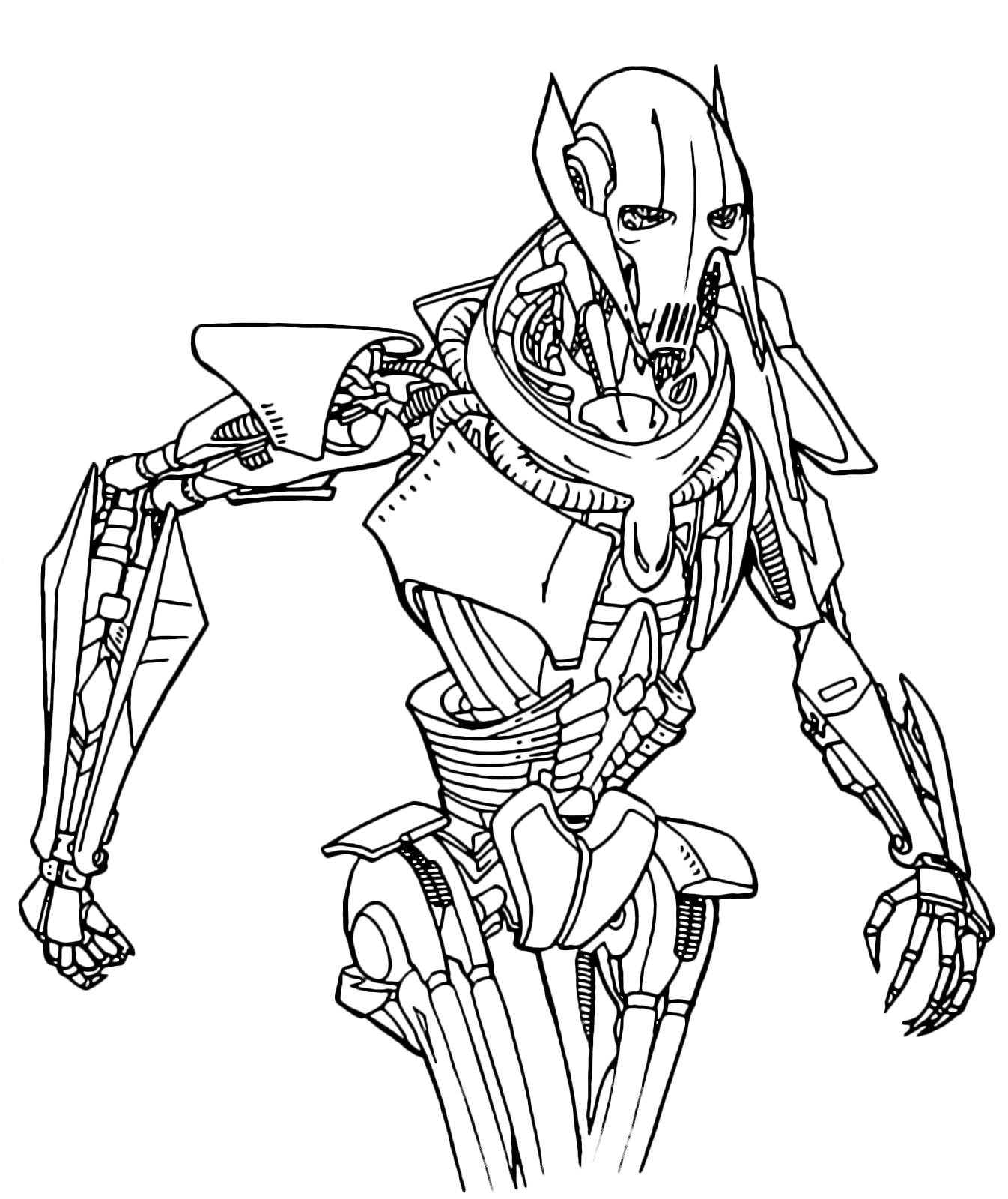coloring pages general grievous | Star Wars - General Grievous is approaching menacingly