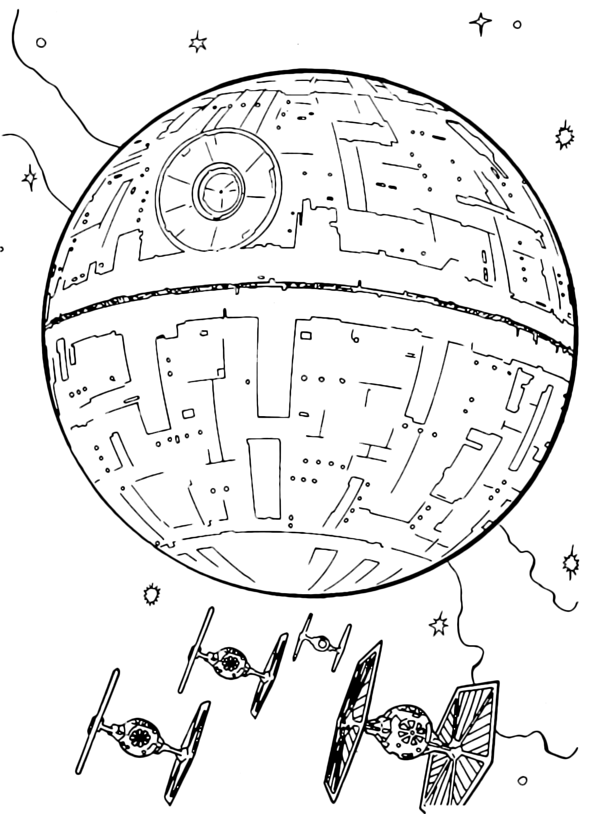 Death Star Coloring Page Stunning Wars  The Tie Fighter Whizzing Near The Death Star Decorating Design
