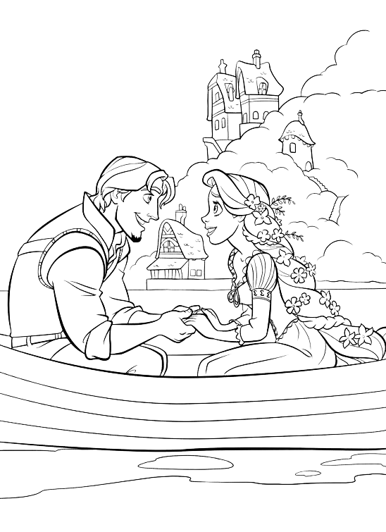 Tangled - Flynn and Rapunzel on the boat