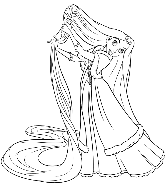 Tangled Rapunzel Combing Her Long Hair