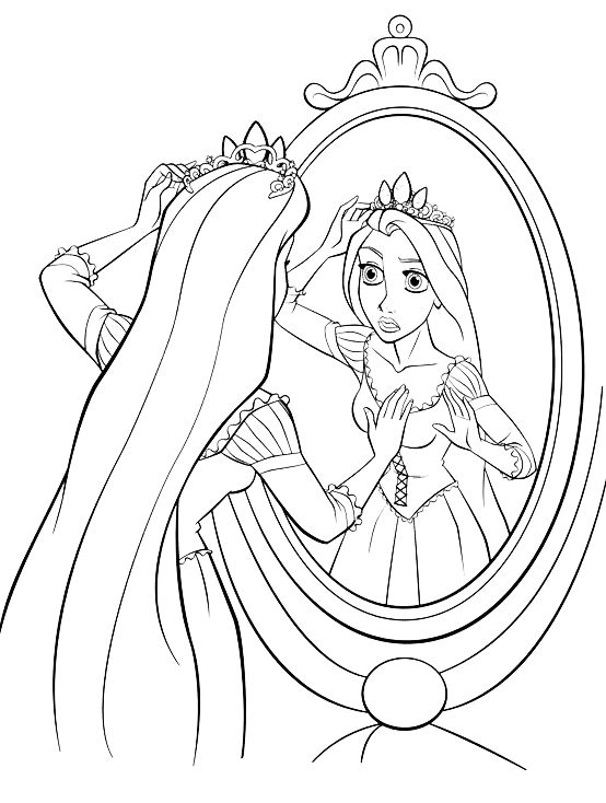 Colorare Rapunzel.Tangled Rapunzel Looks In The Mirror
