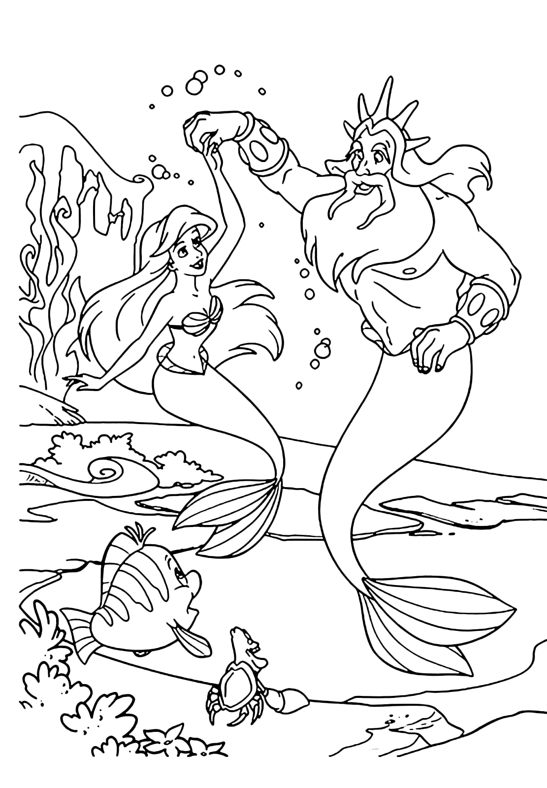 The Little Mermaid Ariel dances with his father Triton
