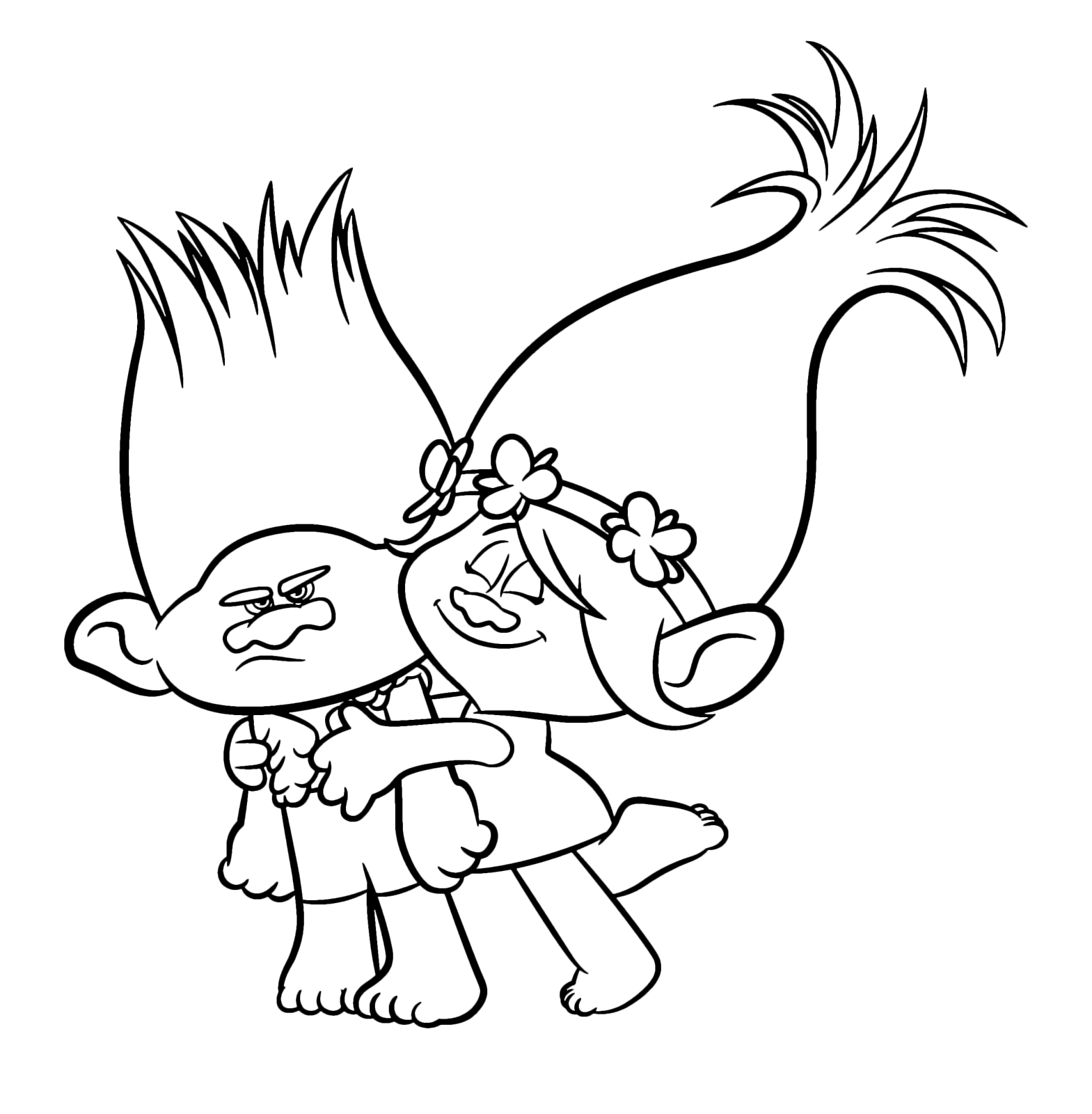 Trolls coloring pages for Branch trolls coloring pages