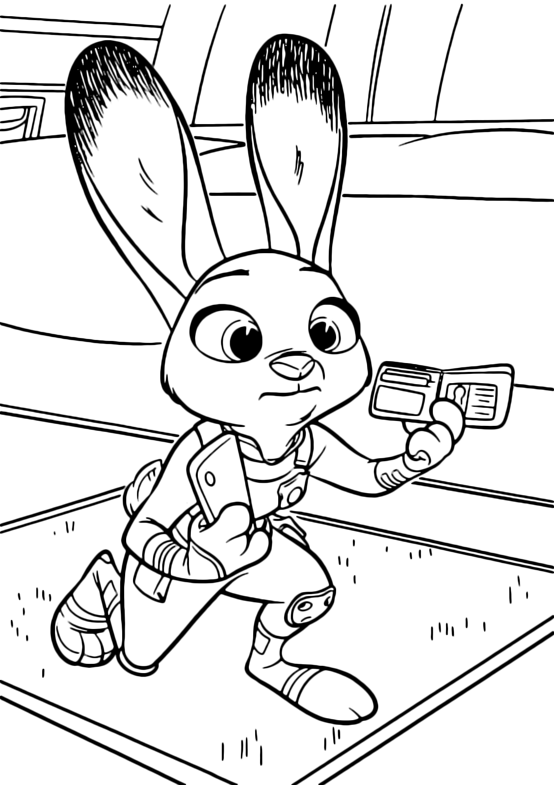 Zootopia Coloring Page The Bunny Judy Hopps Runs With A Document In Hand