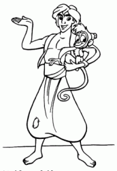 Aladdin holding the little monkey Abu