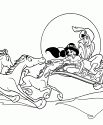 Jasmine and Aladdin are followed by horses as they fly on the carpet