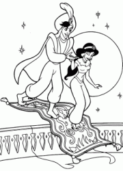 Prince Ali Ababua helps Jasmine get off the flying carpet