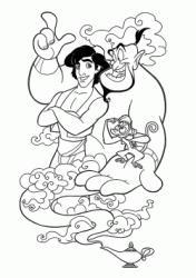 The genius of lamp talks to Aladdin as he holds Abu in his hand
