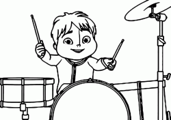 Theodore plays drums