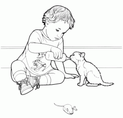A child gives milk to the kitten with a feeding bottle