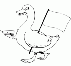 A goose with the flag