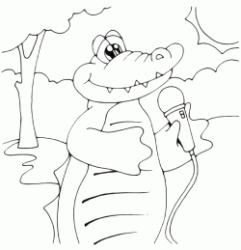 crocodile with the microphone