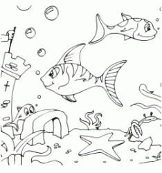Fish swim on the seabed