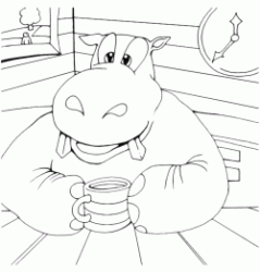 Hippopotamus drink from the cup