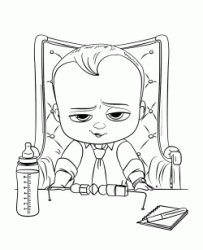 Baby Boss sitting on his chair with a baby bottle ready