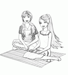 Barbie sitting on a carpett with a friend