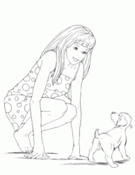 Barbie talks to a little dog