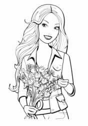 Barbie with a bouquet of flowers