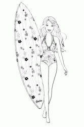 Barbie with surfboard