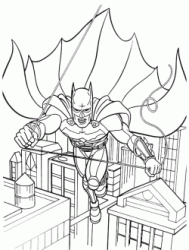 Batman fly between the skyscrapers of Gotham City