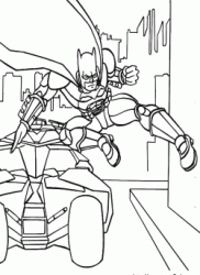 Batman jumps out of the batmobile