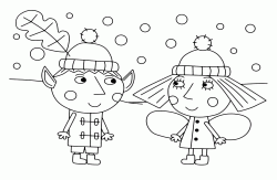 Ben and Holly together as the snow falls