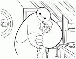Baymax embraces Hiro