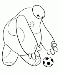 Baymax plays with the ball