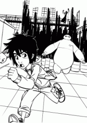 Hiro and Baymax run away from microbot controlled by Yokai