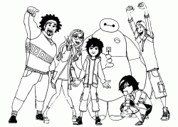 Hiro Hamada with his Baymax GoGo Tomago Wasabi Honey and Fred