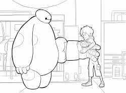 Hiro tries to put the armor to Baymax