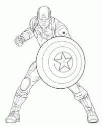 Captain America defends himself with his shield in Vibranium Steel
