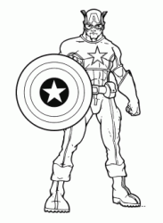 Captain America is posing with his shield