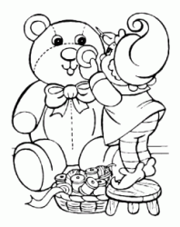 A gnome sews a teddy bear for Christmas