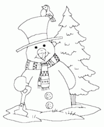 A snowman in front of the Christmas tree
