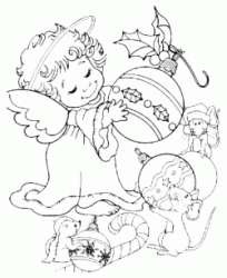 An Angel holds decorations
