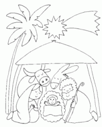 Birth of Jesus in the stable under the Star Comet