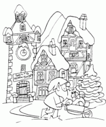 Christmas landscape with gnome