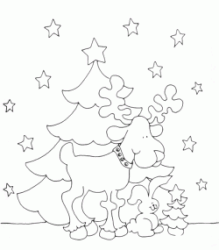 Christmas tree with reindeer and rabbit