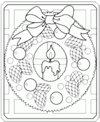 Christmas wreath with bow and candle