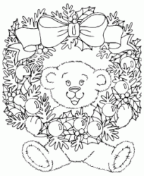 Christmas wreath with teddy bear