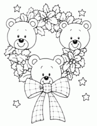Christmas wreath with teddy bears and stars