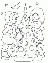 Kids decorate the Christmas tree with candles