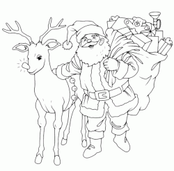 Santa Claus brings gifts with the reindeer